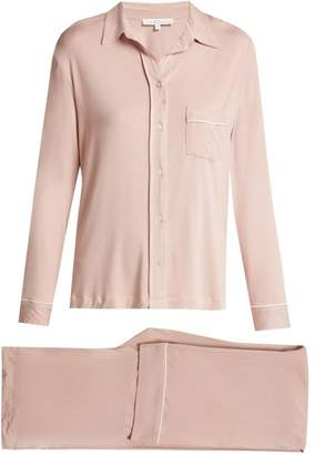 Pour Les Femmes - Piped Stretch Jersey Pyjama Set - Womens - Light Pink
