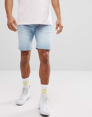 Solid Skinny Fit Denim Short In Light Wash Blue