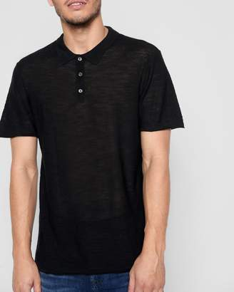 7 For All Mankind Short Sleeve Sweater Polo in Black