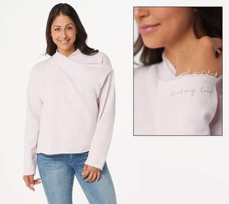 Peace Love World Cross-Over Drape-Neck Sweatshirt