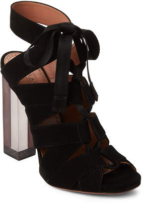 Alaia Black Lace-Up Suede Pumps