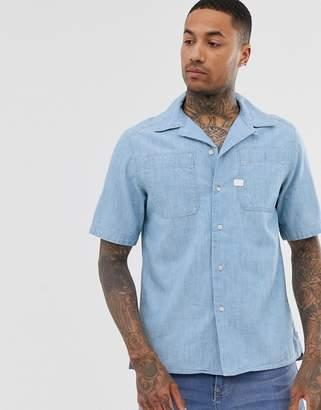 G Star G-Star Kinec organic cotton short sleeve chambray shirt in blue