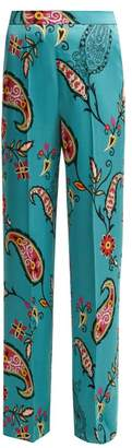 Etro Paisley Print Charmeuse Trousers - Womens - Blue Multi