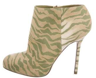 Sergio Rossi Printed Suede Booties