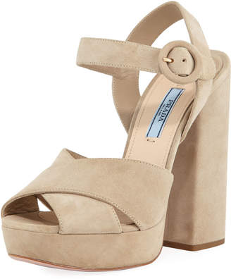 Prada Suede Platform Ankle-Strap Sandal