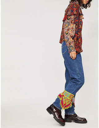 RAGYARD Bead-embellished high-rise straight jeans