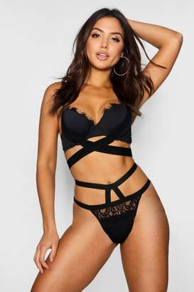 boohoo Alicia Wide Elastic & Eyelash Lace Brief
