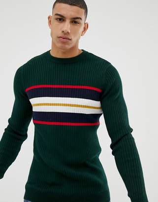 2e66a2180bb12d New Look muscle fit jumper with chest stripe in green