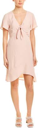 Lavender Brown Tie-Front Silk-Blend A-Line Dress