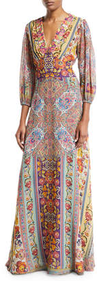 Etro 3/4-Sleeve Floral-Print Beaded Bodice Gown