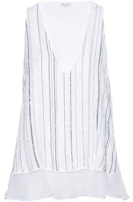 Brunello Cucinelli Frayed Bead-Embellished Embroidered Silk-Chiffon Tank