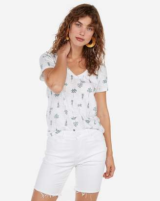 Express One Eleven Palm Tree Slim V-Neck Tee