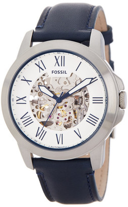 Fossil Men&s Grant Skeleton Dial Leather Strap Watch $175 thestylecure.com