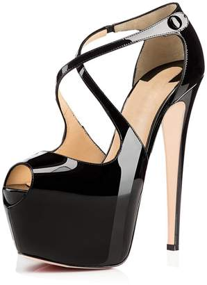 Joogo Open Toe Platform Stilettos Ankle Corss Strap Buckle Snap High Heels Wedding Pumps Size 8