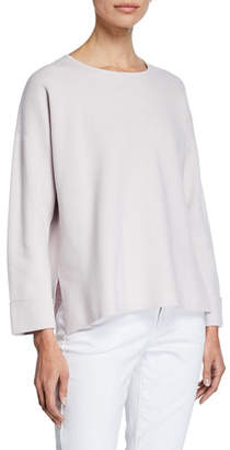 Eileen Fisher Jewel-Neck Long-Sleeve Silk-Cotton Sweater