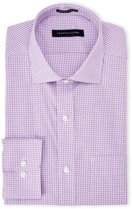 Tommy Hilfiger Lavender Gingham Regular Fit Dress Shirt