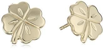 14k Yellow Four Leaf Clover Stud Earrings