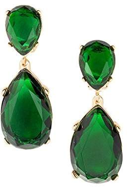 Kenneth Jay Lane Color Crystal Double Teardrop Statement Pierced Earrings
