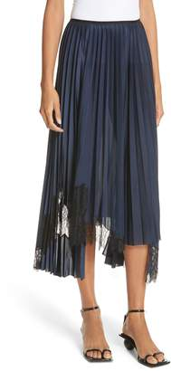 Helmut Lang Pleated Lace Inset Skirt