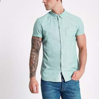 River Island Mens Green green slim fit short sleeve shirt