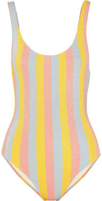 Solid & Striped The Anne-marie Glittered Striped Swimsuit - Yellow