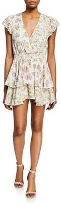 Alice + Olivia Mariska Floral-Print V-Neck Short-Sleeve Ruffled Skort Romper
