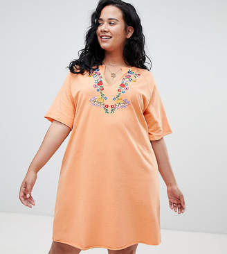 Asos Oversized T-Shirt Dress with Embroidery