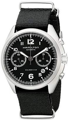 Hamilton Men's H76456435 Khaki Aviation Stainless Steel Automatic Watch with Black Canvas Band