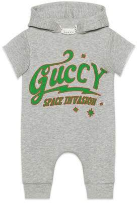 Gucci Guccy UFO Hooded Short-Sleeve Romper, Size 3-24 Months