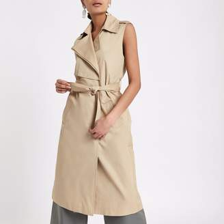 River Island Womens Beige sleeveless belted trench coat