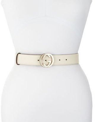 Gucci Wide Logo-Clasp Leather Belt, White $375 thestylecure.com