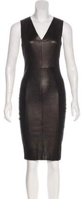 Robert Rodriguez Leather-Paneled Suede Dress