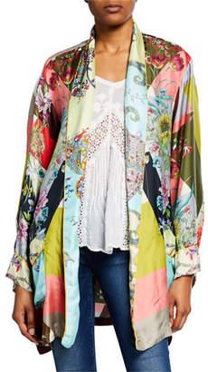 35c2d5f475a Johnny Was Plus Size Flower Block Long-Sleeve Silk Kimono Robe
