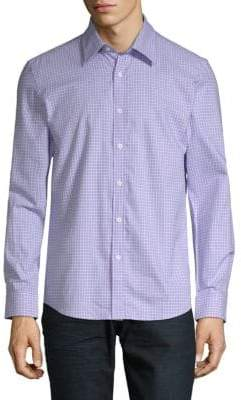 Hyden Yoo Plaid-Print Slim-Fit Cotton Button-Down Shirt