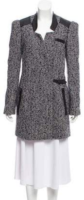 Tibi Leather-Trimmed Wool Coat