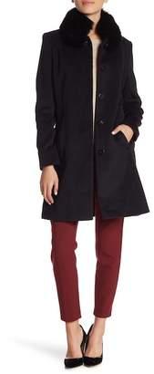Via Spiga Genuine Dyed Fox Fur Trim Wool Blend Coat