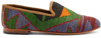 ARTEMIS DESIGN SHOES Aztec-pattered woven Kilim and leather loafers