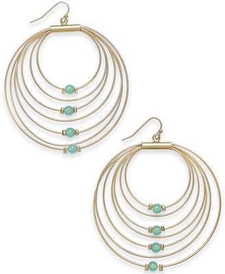 Thalia Sodi Gold-Tone Bead Graduated Drop Hoop Earrings, Created for Macy's