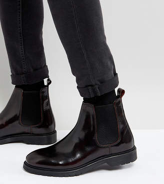 Asos DESIGN Wide Fit Chelsea Boots In Burgundy Leather With Ribbed Sole