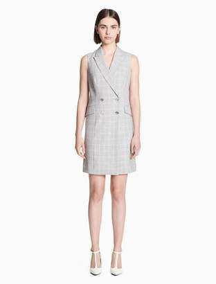 Calvin Klein plaid double breasted sleeveless blazer dress