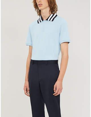 Sandro Campus striped-trim cotton-pique polo shirt