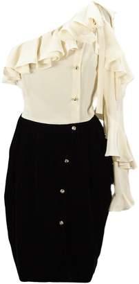 Philosophy di Lorenzo Serafini Short Dress With Velvet Skirt And Ruffles