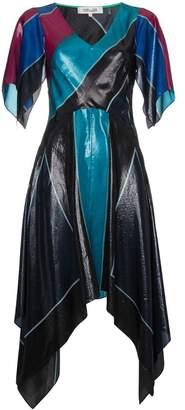 Diane von Furstenberg V-neck flutter asymmetric silk dress