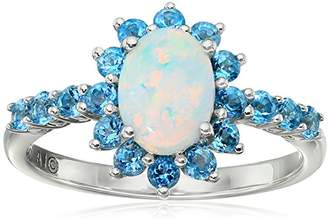 Sterling Silver Oval Created Opal with Topaz Lady Di Ring
