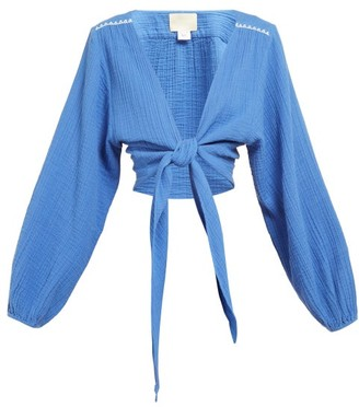 Anaak - Bianca Tie Front Cropped Blouse - Womens - Blue