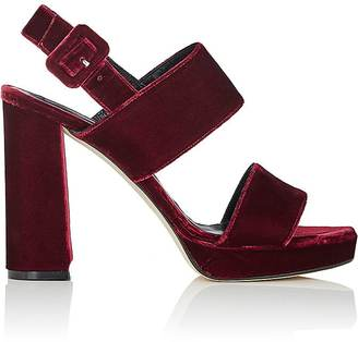 Barneys New York Women's Double-Band Platform Sandals-BURGUNDY $325 thestylecure.com