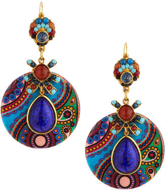 Jose & Maria Barrera Jasper & Crystal Paisley Decoupage Drop Earrings