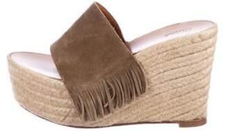 Chloé Suede Fringe Espadrille Wedge Sandals Olive Chloé Suede Fringe Espadrille Wedge Sandals