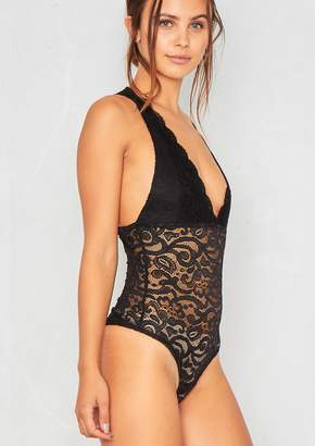 Missy Empire Missyempire Hollie Black Lace Plunge Bodysuit bff29cd01