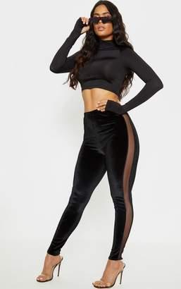 00b0f187a3f4fa PrettyLittleThing Black Velvet Mesh Panel Legging